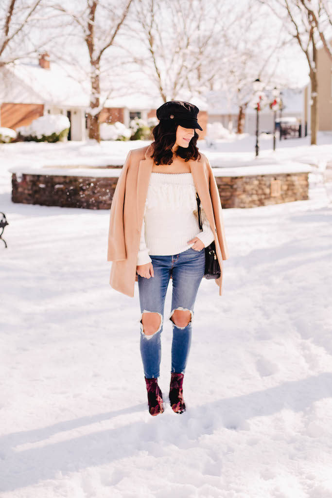 Fringe off the shoulder sweater
