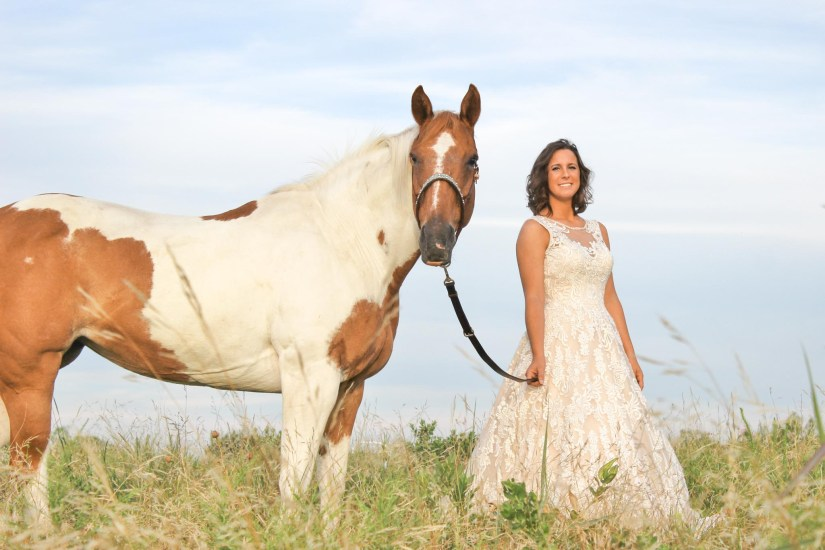 equine photography. Bride with paint horse.