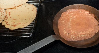 Crepes browned in pan
