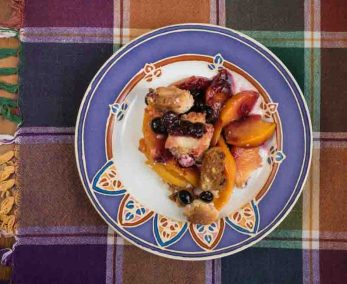 plated peach blueberry crumble