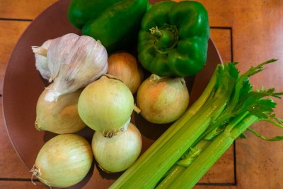 garlic onions celery bell pepper for roux