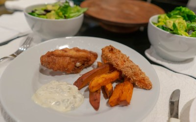 Fish and Chips with Sweet Potato Fries and Tarter Sauce