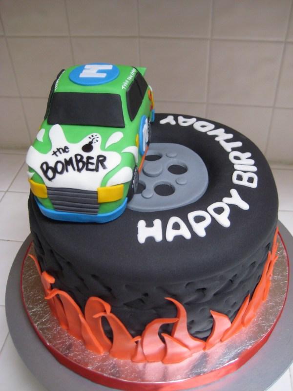 Nascar Tire Cake With Flames Byrdie Girl Custom Cakes