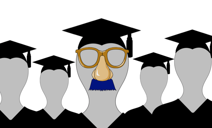 A picture of graduates in their graduate caps and gowns, now of whom is wearing a groucho marx disguise. From Nick Byrd's blog post about academic fake news.