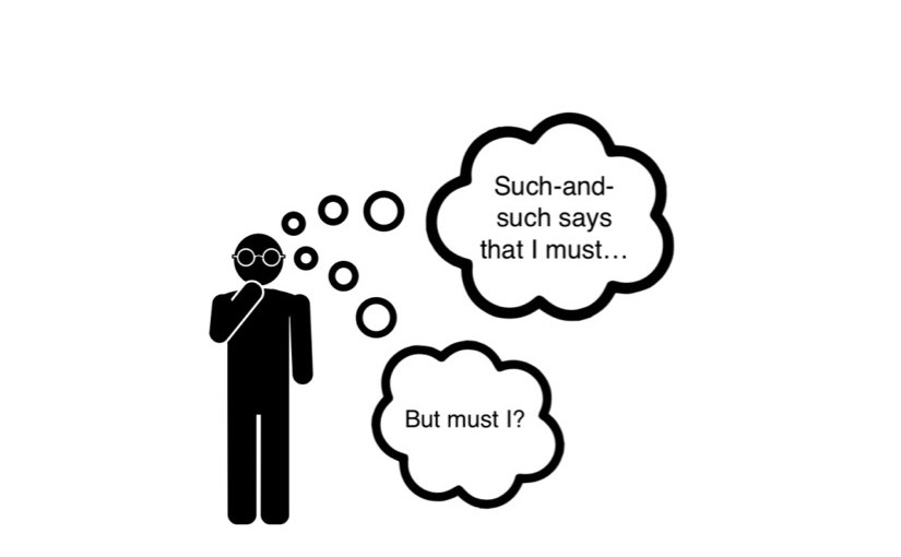 A drawing of a stick figure asking Christine Korsgaard's Normative Question