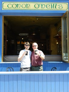 Raising a toast with Conor to Grandpa Byrne on the 1st anniversary of Dad's passing (April 2013)
