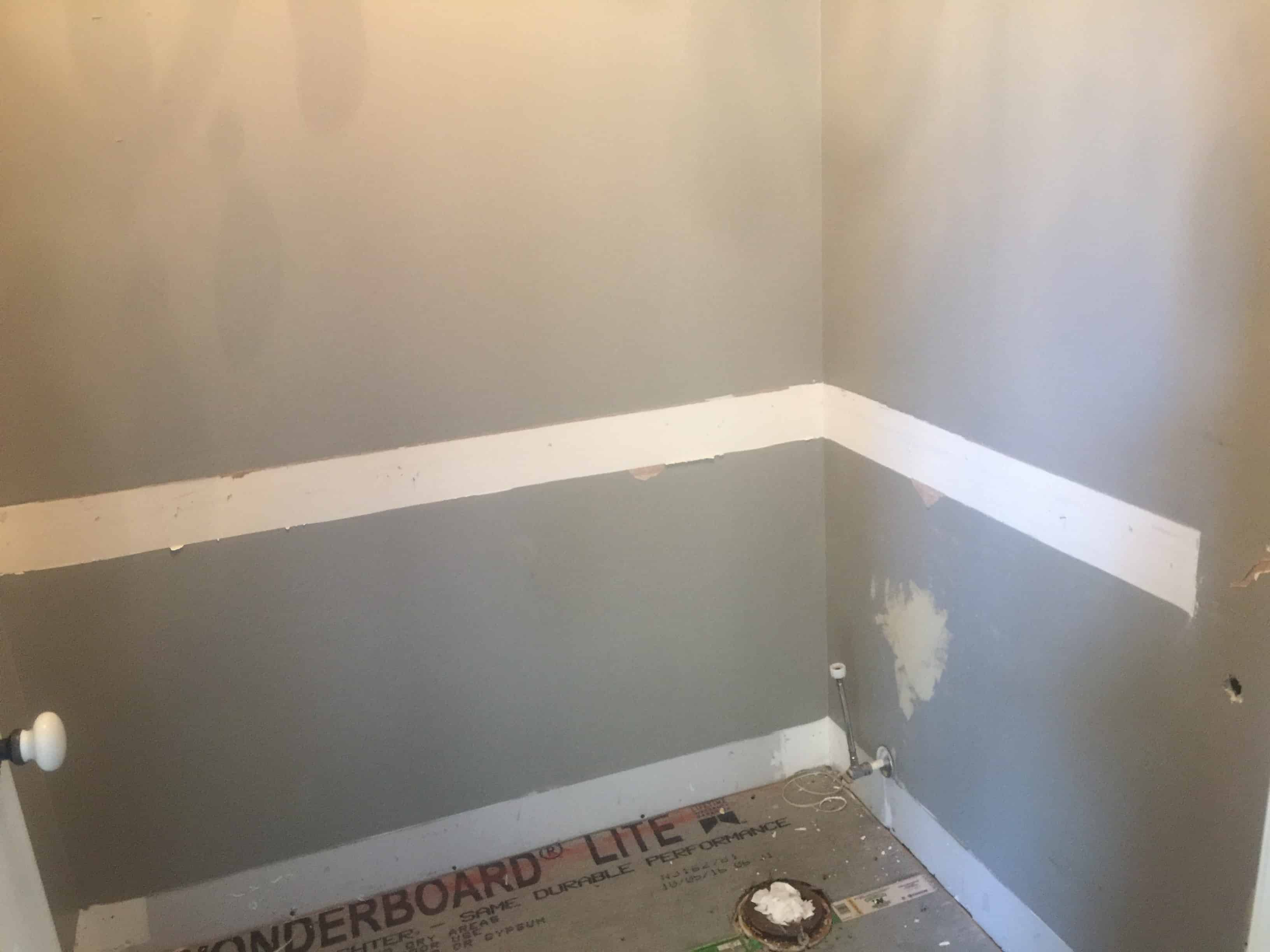 pictures of chair rails in bathrooms standing office faux shiplap bathroom saved by scottie