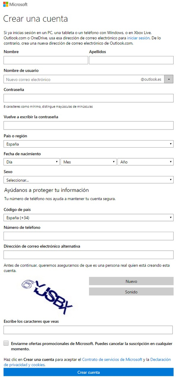 Cómo crear una cuenta de Hotmail e