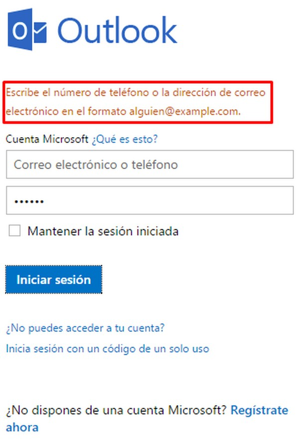 Problemas para iniciar sesión en Hotmail b