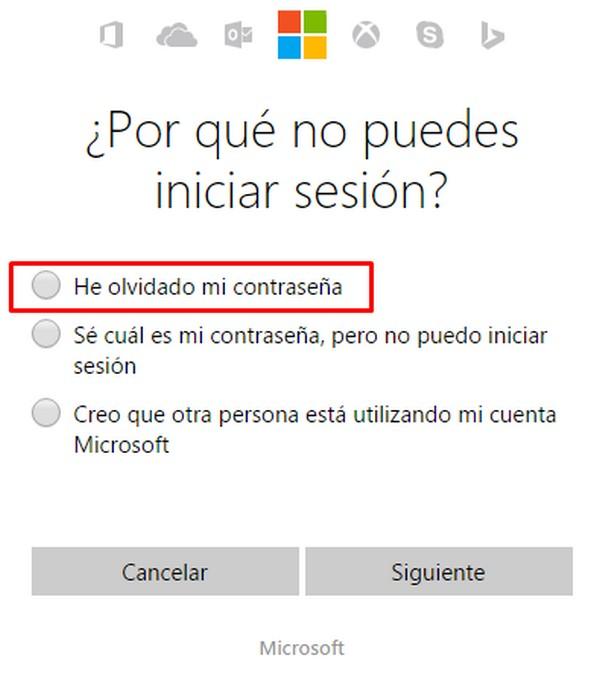 No puedo iniciar sesión en Hotmail c