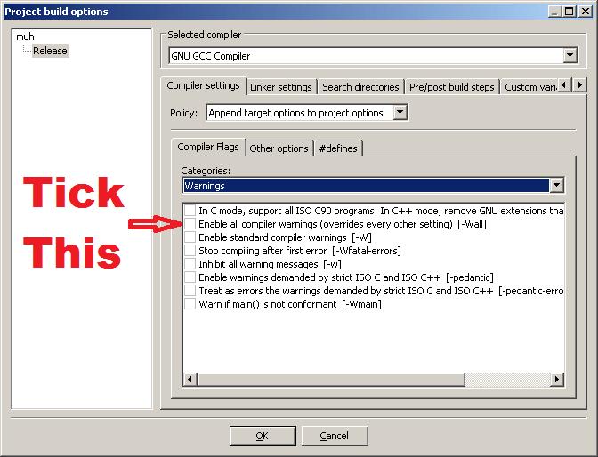 Enable all warnings on codeblocks – Bytefreaks net