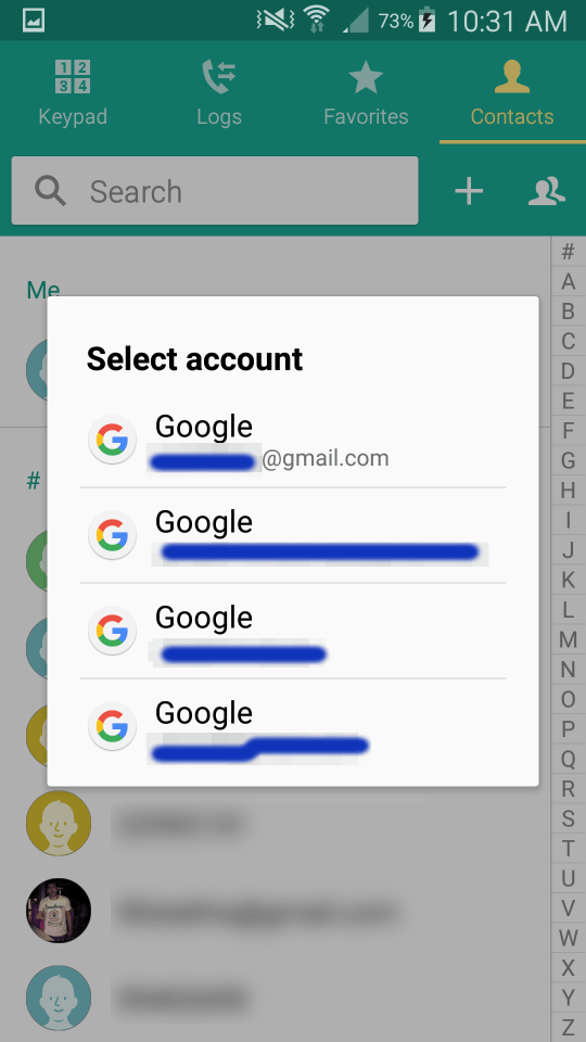 Select the account where you want to move your device contacts to
