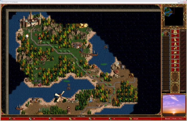 Mapa generado aleatoriamente por el algoritmo del juego Heroes of Might and Magic III