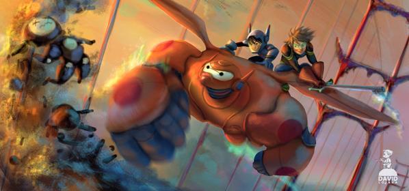 Magnífico fan art del mundo de Big Hero 6 en KH.