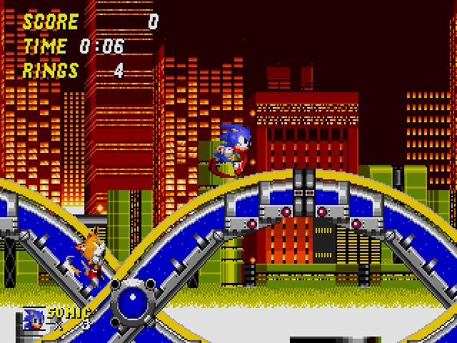 Imagen del juego Sonic the Hedgehog 2, donde se ve a Sonic seguido por Tails