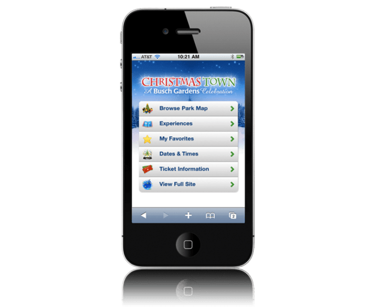 Busch Gardens Williamsburg ChristmasTown Mobile App
