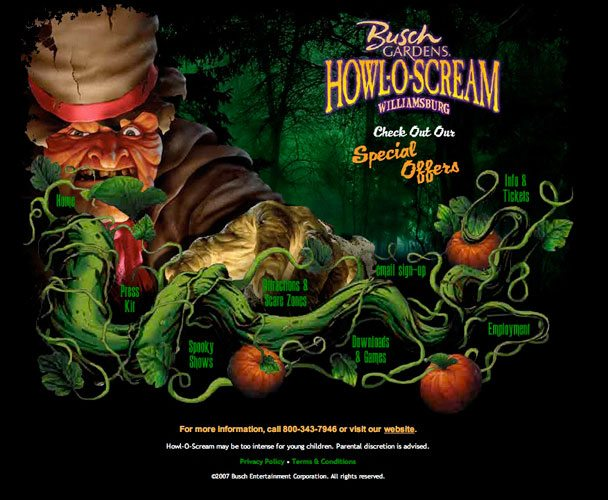 Busch Gardens Williamsburg Howl-O-Scream Website