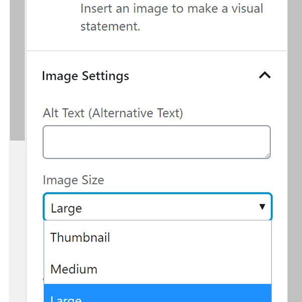 Screenshot Gutenberg Image Block Sizes Dropdown