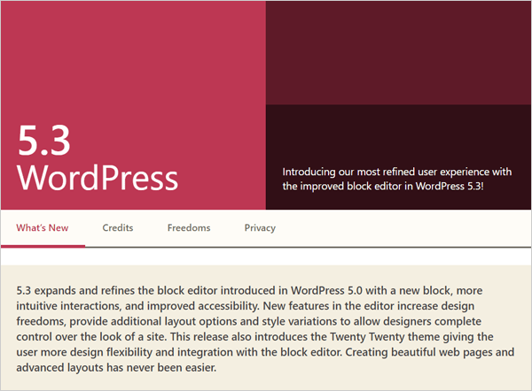 WordPress 5.3 Release Screen