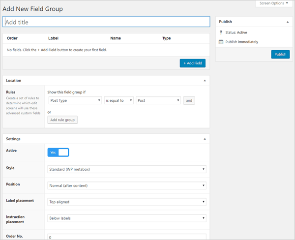 Advanced Custom Fields WordPress plugin - Add New Field screen.