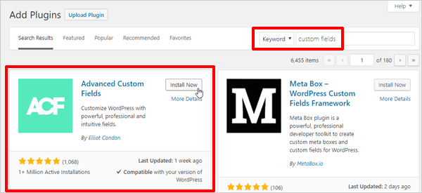 Advanced Custom Fields WordPress plugin - Add plugins screen.