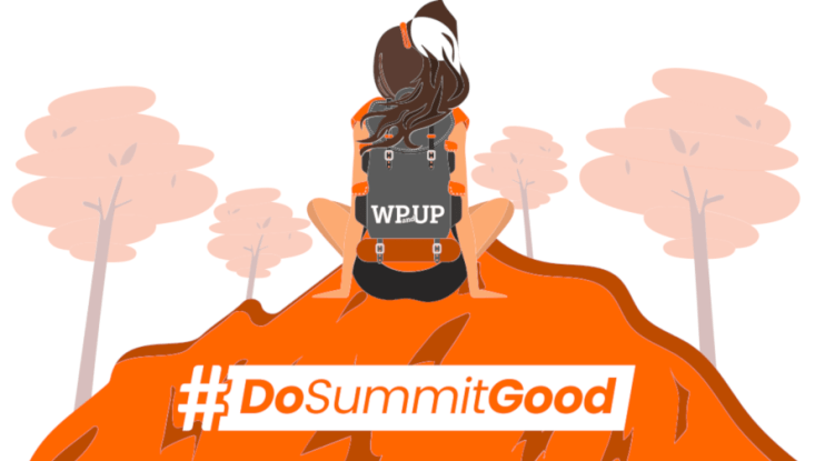 """Decorative image of woman sitting on a mountain, surrounding by trees with the text """"#DoSummitGood""""."""