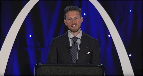Matt Mullenweg giving a State Of The Word address at WCUS St. Louis, Missouri, 2019