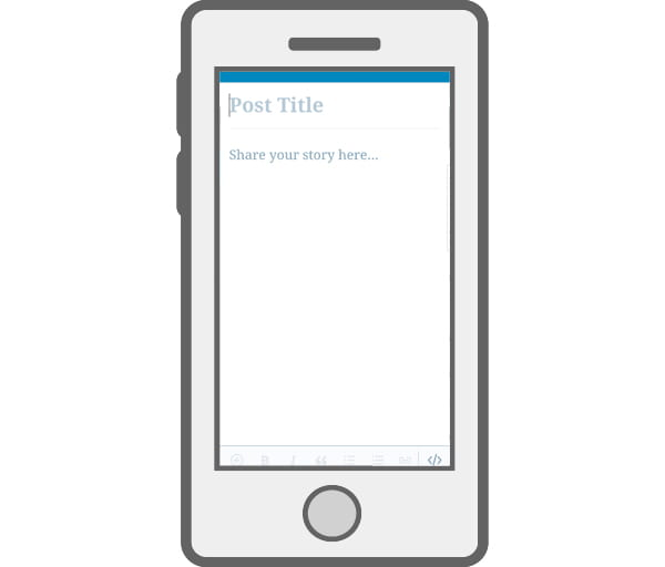 Illustration of mobile device with Add new WordPress Post screen.