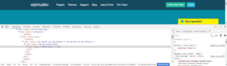 The developer tool is open on a page.