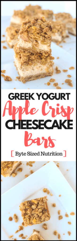 Greek Yogurt Apple Crisp Cheesecake Bars are a must-make dessert this holiday season! Rich, creamy caramel apple cheesecake topped with cinnamon-spiced apples and sandwiched between two layers of buttery oat crisp! | www.bytesizednutrition.com
