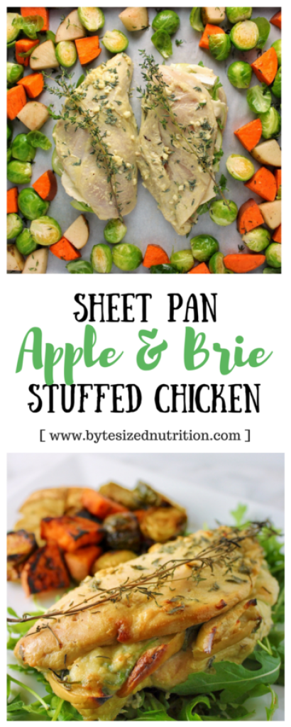 Say goodbye to dirty dishes with this Sheet Pan Apple & Brie Stuffed Chicken! A restaurant-quality meal cooked on one pan in about 30 minutes. | www.bytesizednutrition.com