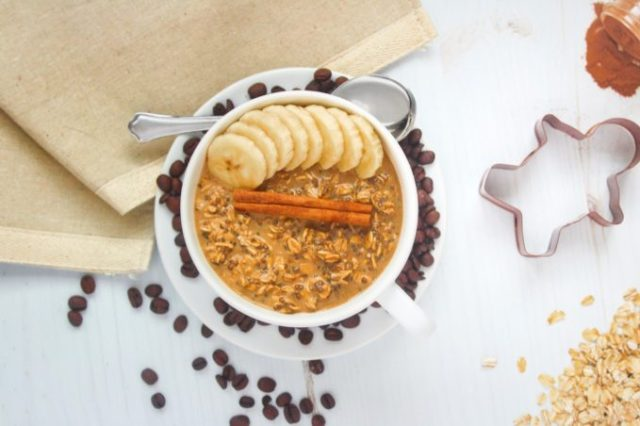 Keep the spirit of the holidays alive all winter long with these Gingerbread Latte Overnight Oats. Old fashioned rolled oats are soaked overnight in a combination of coffee, milk, molasses, and warming spices to create an easy, healthy, and delicious make-ahead breakfast that will keep you full all morning long! | www.bytesizednutrition.com