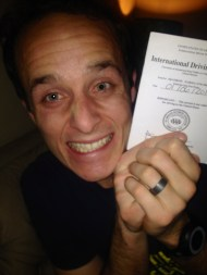 Patrick with his International Driver's License.