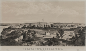 Ville d'Ottawa, Canada Ouest (Basse-Ville), 1855, Edwin Whitefield, une lithographie, Musée Bytown, P436.
