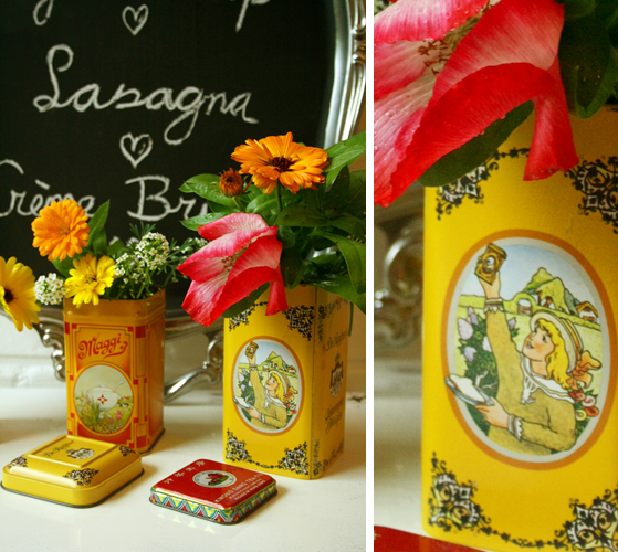 diy - recycled tin vases