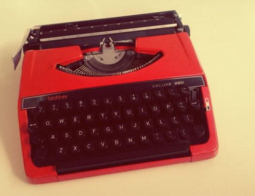Red vintage typewriter