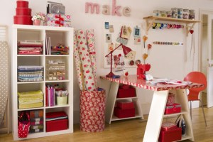 craft room inspiration red and white
