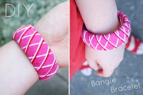 DIY - Restyled dollar store bangle bracelet. Wrapped in jarn!