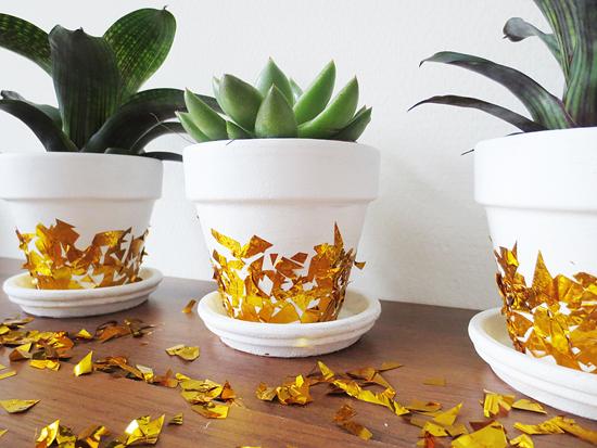 DIY - gold confetti planters