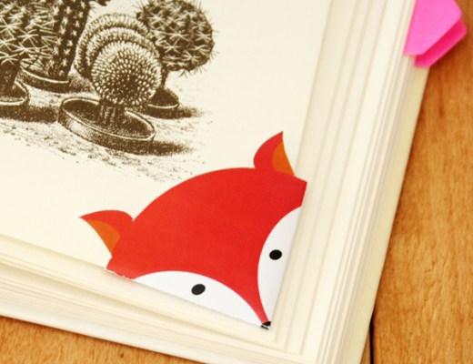 DIY - Printable fox corner bookmark