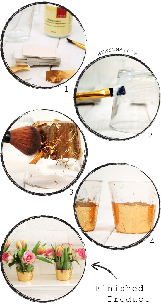 Diy Gold Leaf Vases Or Votives By Wilma
