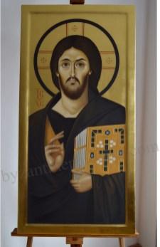 Mantuitorul IIsus Hristos Mila si Dreptate Icoana in encaustica muntele sinai