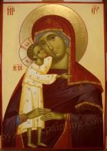 Maica Domnului cu pruncul,icoana pictata pe lemn