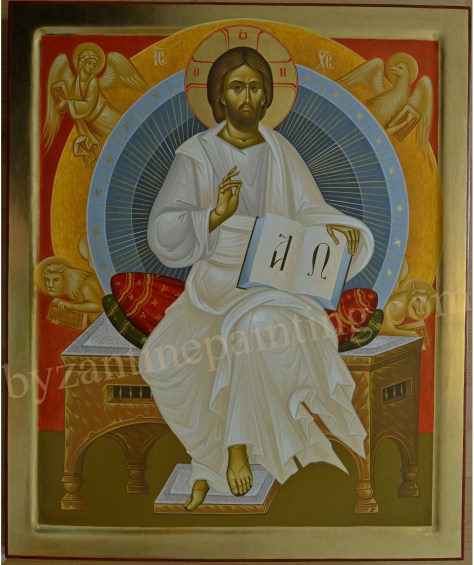 Icoana pictata Iisus Hristos pe Tronul Slavei (3)