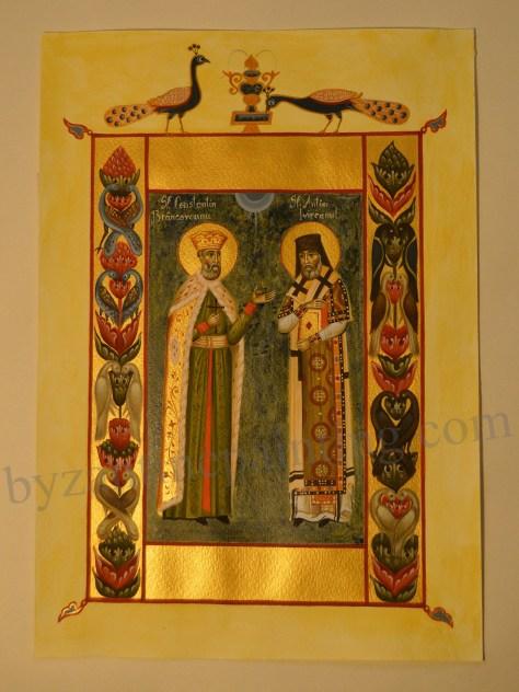 Miniatura bizantina Sfantul Constantin Brancoveanu si Sfantul Antim Ivireanul (3)