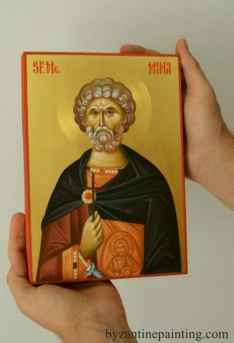 Saint Mina religious painting icon. Studio Iconographic Dumitrescu