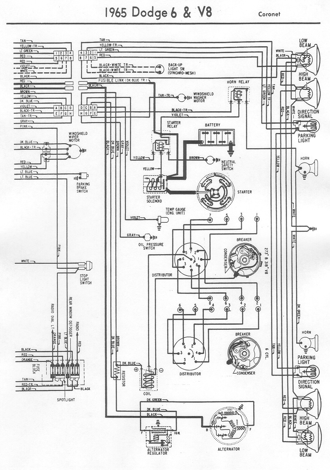 1970 Dodge Dart Swinger A Wiring Diagram For The