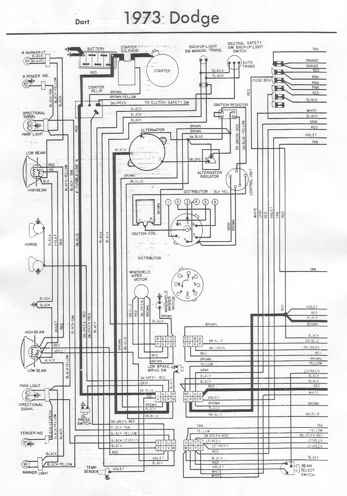 1973 Dodge Dart Wiring – Bob's Garage Library