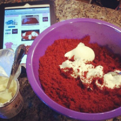 Cakeball mix and Bakerella's web recipe on the iPad....