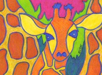 baby giraffe calf drawing